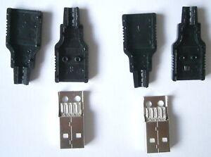 2 X USB Type A 4 Pin MALE Socket Kit Connector Plug Black Plastic Shell Solder