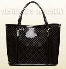 GUCCI black NICE patent Micro GUCCISSIMA leather Large TOTE bag NWT Authen $1330