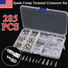 285pcs Electrical Wire Terminals Assortment Set Insulated Crimp Connectors Spade