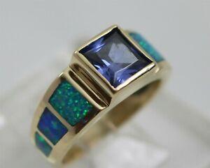 14K Yellow Gold Square Tanzanite & Inlaid Opal Ladies Ring Size 6.25