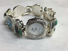 """ARIA STERLING SILVER 925 SCATTERED LINK MOTHER OF PEARL MULTI-GEMSTONE WATCH 7"""""""