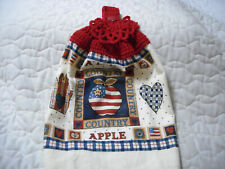 New listing Crocheted Red Top Handmade Terrycloth Kitchen Towel W/Patriotic Design
