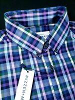 Mizzen+Main Performance Plaid Check Button Down Shirt Trim Fit Blue Made in USA