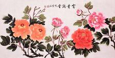 100% HANDPAINTED ORIGINAL ASIA FINE ART CHINESE WATERCOLOR PAINTING-Peony flower