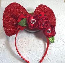 TODDLER GIRL PLASTIC HEADBAND MINNIE INSPIRED BOW FLOWERS RED POLKA HANDMADE