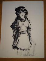 Jean Marie GOUTTIN (NICE 1922- NICE 1987) DESSIN PEINTURE PORTRAIT JEUNE FILLE