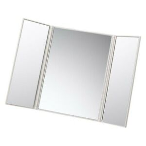 TriFold Mirror 3 Way Makeup Haircut Shave Never Miss a Spot White New Tri-fold