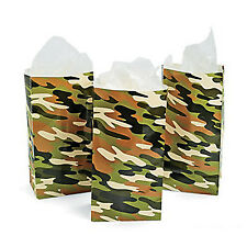 Camouflage Army Party Camo Print Paper Bags Favour Gift Lolly Bag Pack of 12