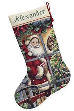Dimensions 8778 Candy Cane Santa Stocking Counted Cross Stitch Kit