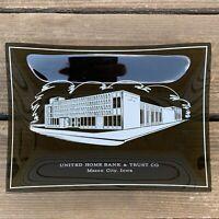 VTG Glass Tray Smoky Black Advertising United Home Bank Mason City IA F/S