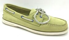 SPERRY TOP SIDER Womens 8M LIGHT LIME MINT GREEN 2 EYE BLUE BOAT SHOES LEATHER