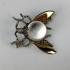 Vintage Jelly Belly Vermeil Sterling Silver Fly Insect Pin