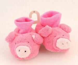 Toddler Sz 2 Pink PIGGY Slippers Fuzzy Knit Cuff Pull On No Skid Sole NEW