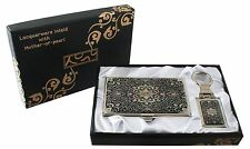 mother of pearl arabesque business card holder key chain key ring gift set #81
