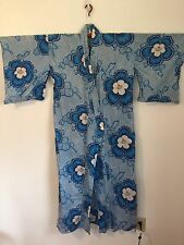 Women's Light Blue White Floral Ume Cotton Yukata Kimono