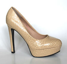Etsey Paige Women's UK 5.5 Beige Calla High Heel Croc Print Stiletto Court Shoes