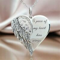 Angel Wing Necklace Heart Chain Pendant Jewelry - a piece of my heart has wings