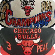 LOT 2 Vintage Chicago Bulls Logo Athletic 1996 Champions G Cap 1993 3 Peat Hat