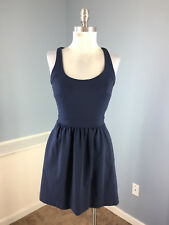 Cynthia Rowley XS Navy Blue Skater Flare dress Exposed Zip Excellent Stretch WOW