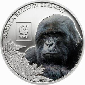 Tanzania 2016 Gorilla 100 Shillings Silver Plated Coin,Proof
