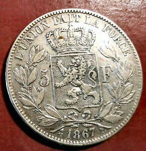 Belgium 5 Francs 1867 King Leopold 2º Silver @ Bella @