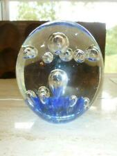 Clear & Blue Art Glass Elongated Teardrop & Round Controlled Bubble Paperweight