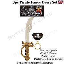 3 PC PIRATE SET FANCY DRESS SWORD EYE PATCH EARRING CUTLASS SWORD
