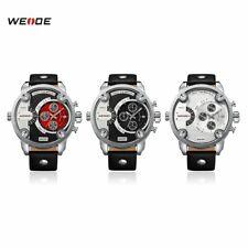 WEIDE WH3301 Waterproof Watches Genuine Leather Strap Dual Quartz Movement KW
