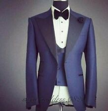 Blaue Spitze Revers Hochzeit Bräutigam Slim Smoking Prom Party Dinner Suit