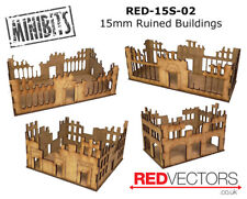 RED-15S-02 - 15mm Wargames - Sci-Fi Ruined Buildings (4 buildings)