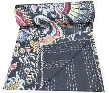 Indian Handmade Black Floral Print Kantha Quilts Twin Hand Quilted Gudri Decor