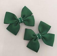 2 Packs Of Forest Green Big Bow Hair Clips/aligator Clip/schools Uniform
