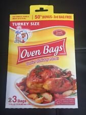 """New listing Turkey Size Oven 3 Bags 19""""x23 1/2"""" For Turkey Ham Meat Of 8-24 Lb"""