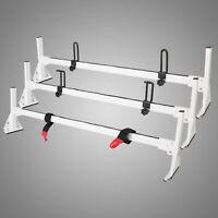 Fullsize Van 3 bar Ladder Roof Rack Steel WHITE Rack For 1996-2019 Chevy Express