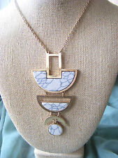 """LADIES' 37"""" WHITE MARBLED TURQUOISE CRESCENT PENDANT GOLDTONE  CHAIN LONG TRENDY"""