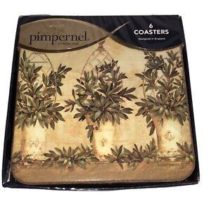 Pimpernel Coasters Olive Topiaries Pamela Gladding Original Box Set Of 6 Barware