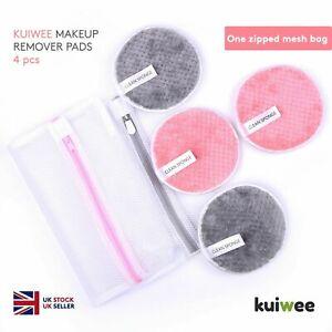 Makeup Remover Pads Washable Reusable With Zipped Mesh Bag Face Microfibre Puff