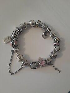 Huge Lot of Rare Retired Authentic Pandora charms Bracelet silver 925 & 14k !!