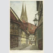 Adrianus van Zeegen: Domgasse in Bamberg. Kolorierte Radierung.
