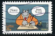 TIMBRE FRANCE  AUTOADHESIF OBLITERE N° 59 SOURIRES / LE CHAT / PHILIPPE GELUCK
