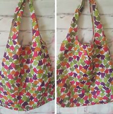 SHOPPING BAG,WATER PROOF,MULTI COLOUR,BIRD PRINT,FASTENING BUTTONS,BARELY USED