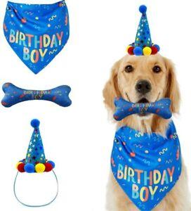 Dog Birthday Bandana Hat Toy Set Pet Happy Birthday Party Supplies Decoration