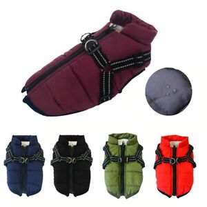 Pet Dog Jacket With Harness Winter Warm Outfits Clothes Waterproof Coat