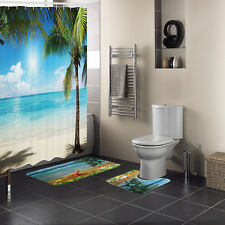 15 Pc Sunny Ocean Bath Rug Mat Bathroom Set Contour Mat Shower Curtain 12 Hooks