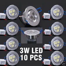 LOT 10 3W LED Ceiling Recessed Down Light Cool White 6000K Spot Bulb Lamp+Driver