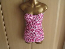 BNWT Womens SEAFOLLY Pin Up Malliot Magenta Striped Design Swimsuit-Size 14