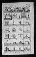 1753 Gents Mag. Antique Print of Views and Relics in Notre Dame Paris, France