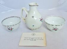 Antique 18th Century Chinese Export Pitcher & 2 Tea Cups or Bowls w/ Shreve Card
