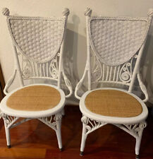 Lot Of 2 Antique Victorian Wakefield White Rattan Chairs