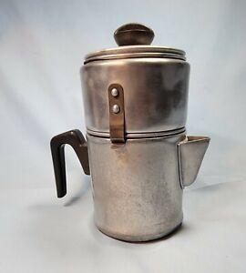 Vtg  Drip-O-Lator 3 Cup Coffee Percolator Pot Enterprise Aluminum Co.US Bakelite